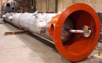 Tall stainless steel reactor column